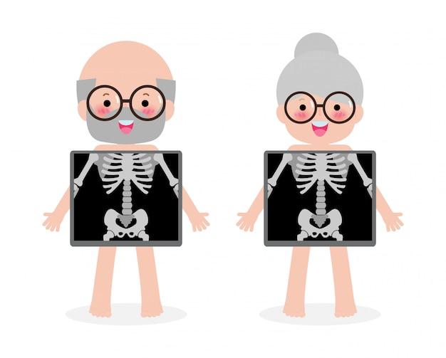 Cute cartoon senior koppel met x-ray scherm met interne organen en skelet. x-ray check botten oude mensen, element van educatieve infographics illustratie geïsoleerd op een witte achtergrond Premium Vector
