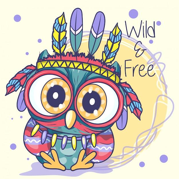 Cute cartoon tribal owl met veren Premium Vector