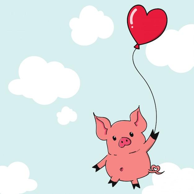 Cute cartoon varken opknoping met hart vorm ballon. Premium Vector