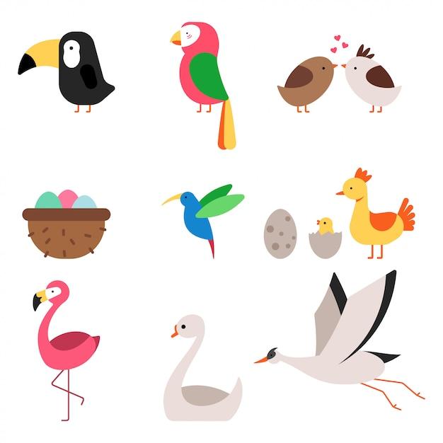 Cute cartoon vogels vector plat pictogrammen set geïsoleerd op een witte achtergrond. Premium Vector