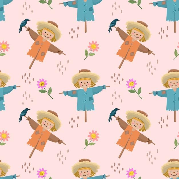 Cute cartoon vogelverschrikkers en bloemen naadloze patroon. Premium Vector