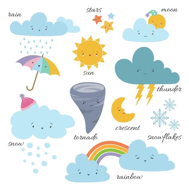 Cute cartoon weerpictogrammen. voorspelling meteorologie vocabulaire symbolen Premium Vector