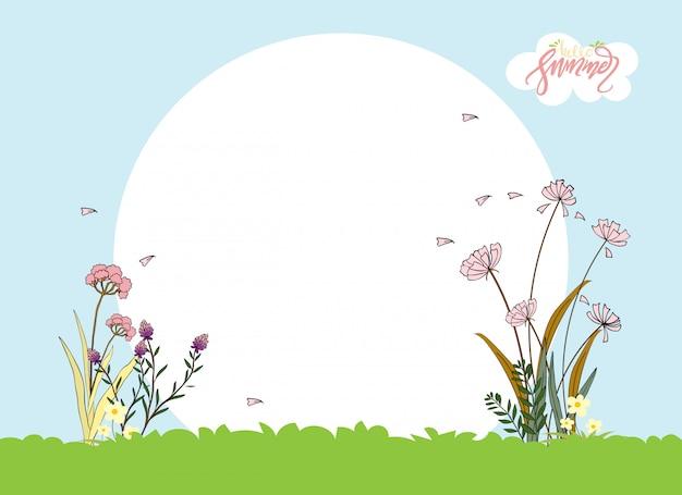 Cute cartoon zomer landschap met copyspace, vector hallo zomer met mooie roze bloemen Premium Vector