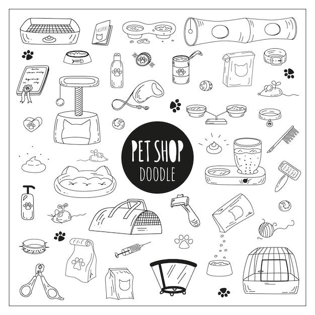 Cute doodle dierenwinkel pictogrammen. Premium Vector