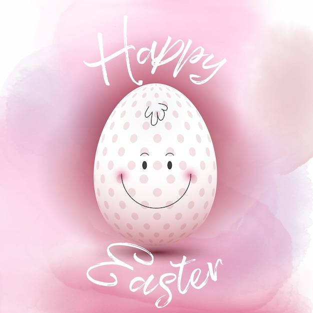 Cute Easter egg op een aquarel achtergrond Gratis Vector