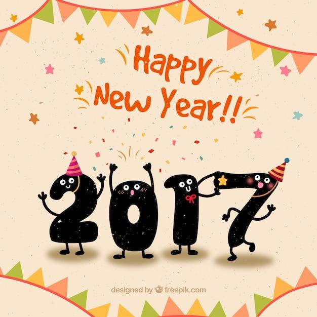 Cute Gelukkig Nieuwjaar achtergrond in grappige stijl Premium Vector