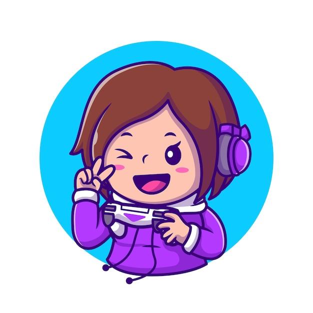Cute girl gaming holding joystick met hand vrede cartoon pictogram illustratie. mensen technologie pictogram concept geïsoleerd. flat cartoon stijl Gratis Vector