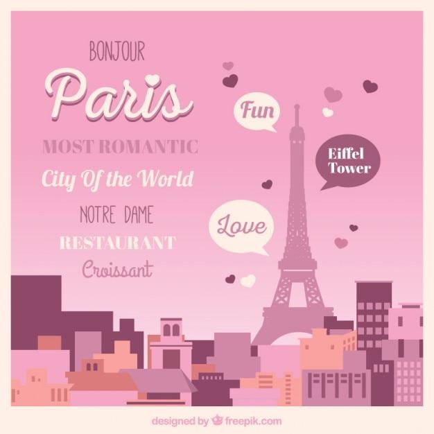 Cute landschap van parijs met belettering Gratis Vector