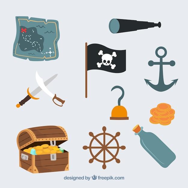 Cute piraat iconen vector set Gratis Vector
