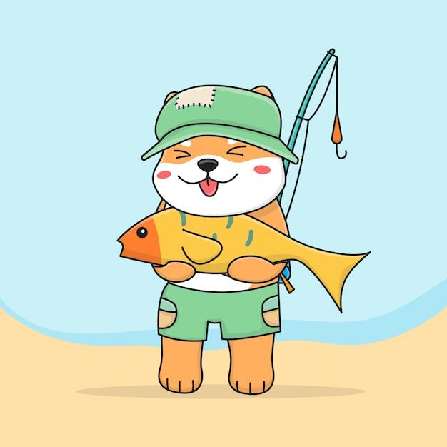 Cute shiba inu vissen Premium Vector