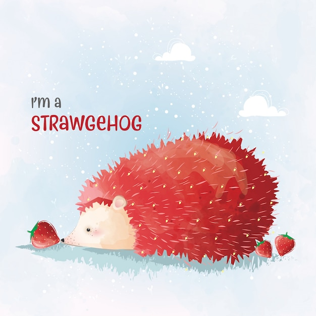 Cute Strawmond Premium Vector