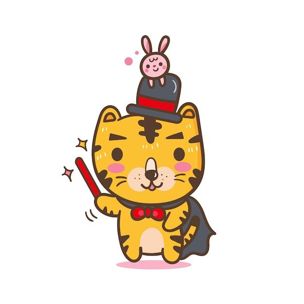 Cute tiger cartoon of vector (docent: onderwijs) Premium Vector