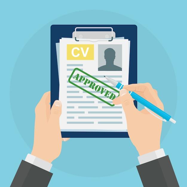 Cv-bedrijf hervat in de hand op de achtergrond. sollicitatiegesprek, werving, zoek werkgever concept. Premium Vector