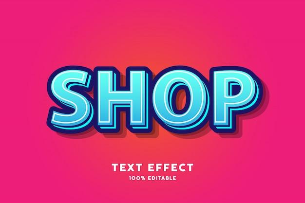 Cyaan blauw vers modern teksteffect Premium Vector