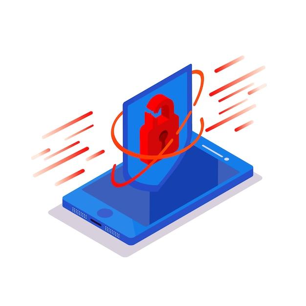 Cyber aanval. isometrische telefoon met hangslot beschermend schild op een blauwe achtergrond. hacking smartphone-gebruikersdatabase. beveiliging van nieuwe technologieën. Premium Vector