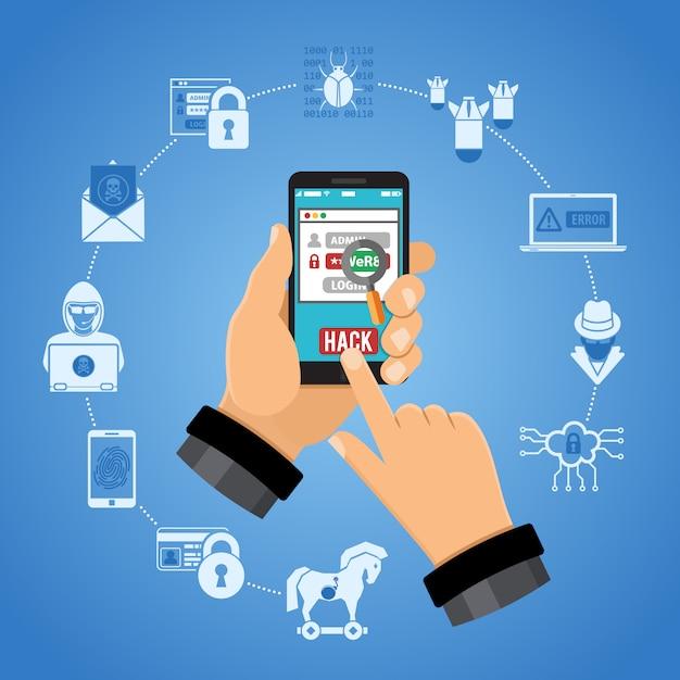 Cyber crime concept met hacker Premium Vector
