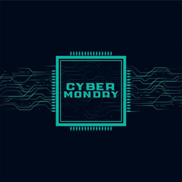 Cyber maandag banner in futuristisch stijlontwerp Gratis Vector
