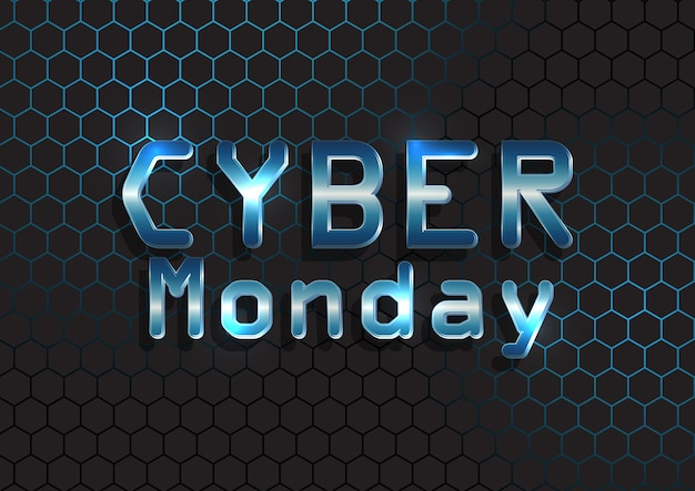Cyber maandag banner met metalen tekst op zeshoekig patroon Gratis Vector