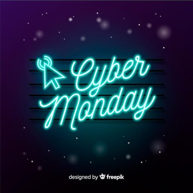 Cyber maandag concept in neon teken Gratis Vector