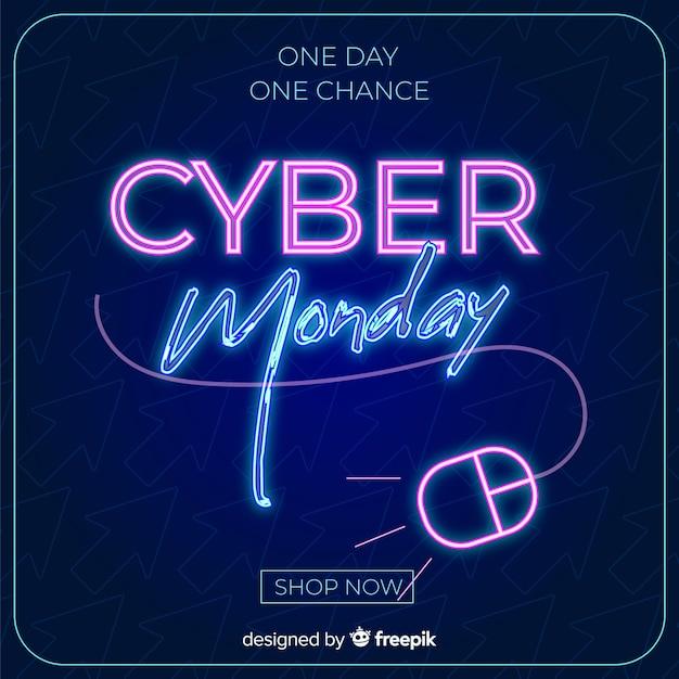Cyber maandag concept in plat ontwerp Gratis Vector