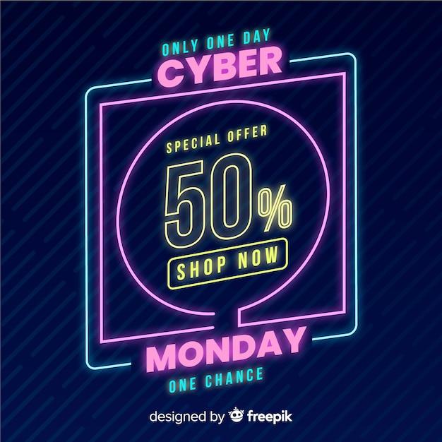 Cyber maandag concept met neon achtergrond Gratis Vector