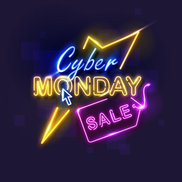 Cyber maandag concept met neon ontwerp Gratis Vector