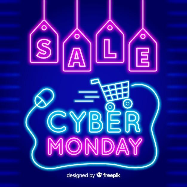 Cyber maandag concept met neon stijl Gratis Vector
