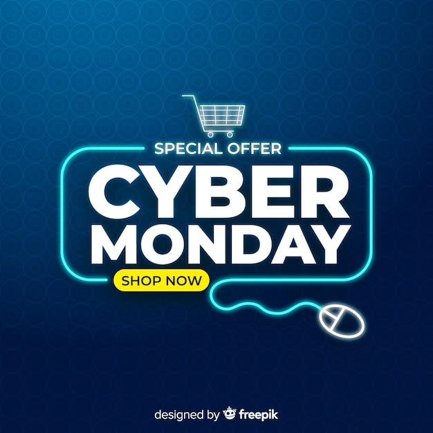 Cyber maandag concept met platte ontwerp achtergrond Gratis Vector