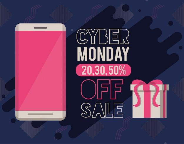 Cyber maandag dag poster met smartphone Premium Vector