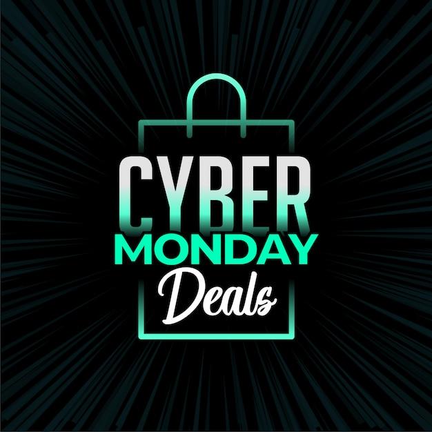 Cyber maandag deals en winkelen bannerontwerp Gratis Vector