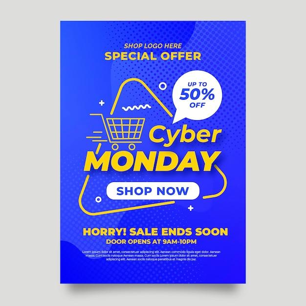 Cyber maandag flyer ontwerp Gratis Vector