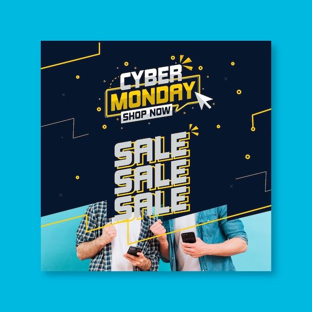 Cyber maandag flyer vierkant Gratis Vector