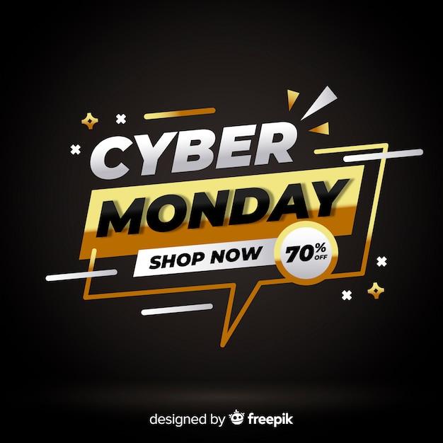 Cyber maandag gouden tekstballon achtergrond Gratis Vector