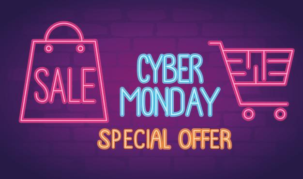 Cyber maandag neon belettering met boodschappentas en kar illustratie ontwerp Premium Vector