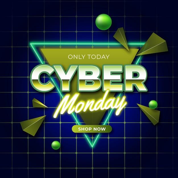 Cyber maandag retro futuristische banner Gratis Vector