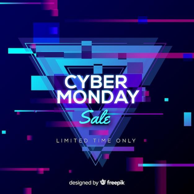 Cyber maandag te koop achtergrond neon stijl Gratis Vector