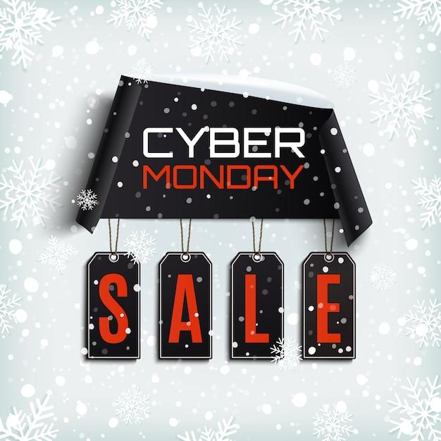 Cyber maandag te koop. gebogen papier banner met zwarte prijskaartjes op winter achtergrond met sneeuw en sneeuwvlokken. Premium Vector