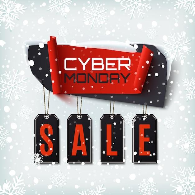 Cyber maandag verkoop, abstracte banner op winter achtergrond met sneeuw en sneeuwvlokken. ontwerpsjabloon voor brochure, poster of flyer. Premium Vector