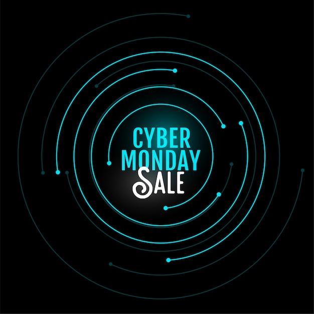 Cyber maandag verkoop banner in cirkelvormig ontwerp Gratis Vector
