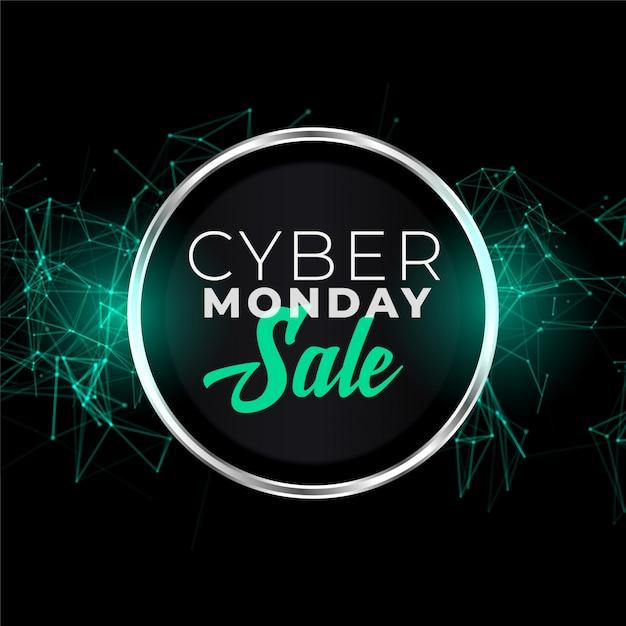 Cyber maandag verkoop banner in futuristische stijl Gratis Vector
