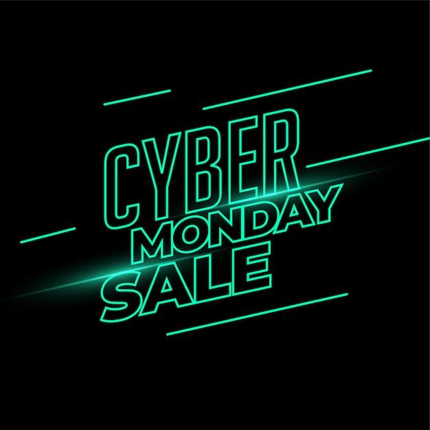 Cyber maandag verkoop banner in neonlichtstijl Gratis Vector
