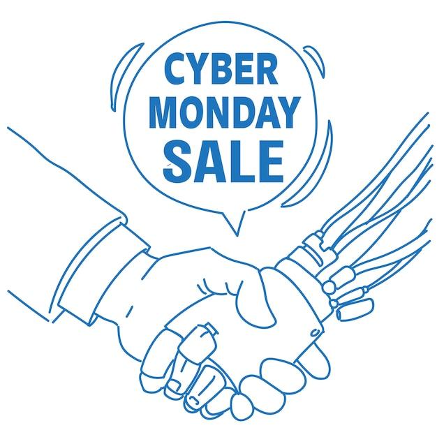 Cyber maandag verkoop menselijke robot hand schudden communicatie hulp chat bubble kunstmatige intelligentie schets doodle Premium Vector