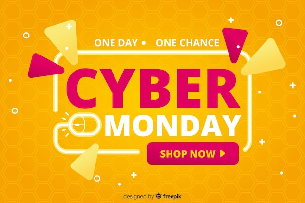 Cyber maandag verkoop platte ontwerp banner Gratis Vector