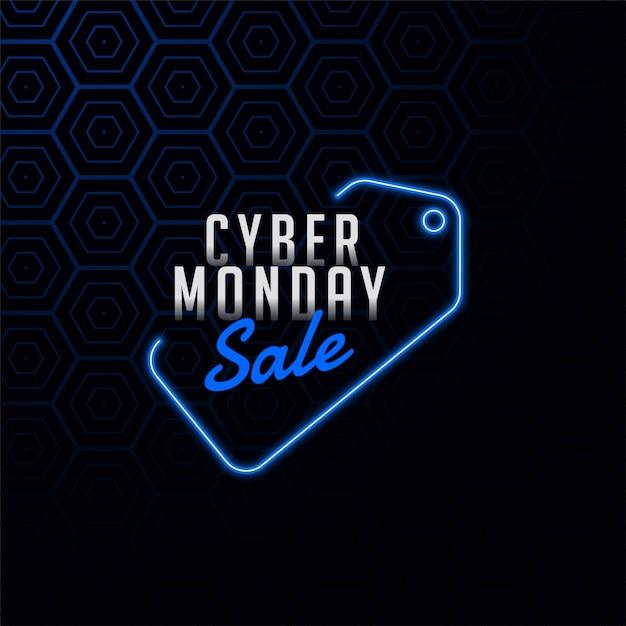 Cyber maandag verkoop tag in neon stijl ontwerp banner Gratis Vector