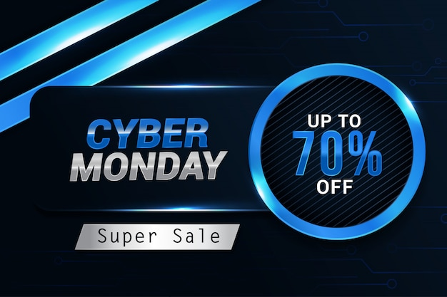 Cyber maandag verkoop trendy ontwerp banner achtergrondsjabloon Premium Vector
