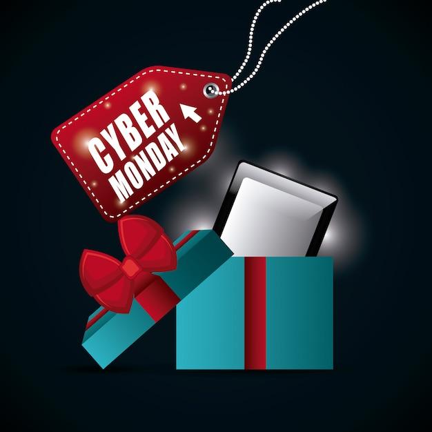 Cyber maandag winkelseizoen Gratis Vector