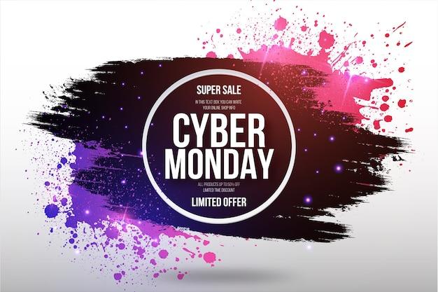 Cyber monday-uitverkoop beperkt aanbodkader met penseelstreek en splash-achtergrond Gratis Vector
