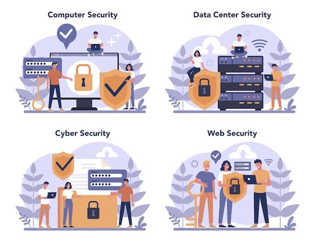 Cyber- of webbeveiligingsconceptenset. idee van digitale gegevensbescherming en veiligheid. moderne technologie en virtuele misdaad. beveiligingsinformatie op internet. flat vector illustratie Premium Vector