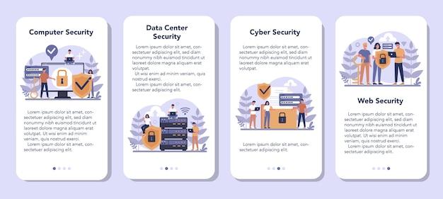 Cyber- of webbeveiligingsset voor mobiele applicaties. idee van digitale gegevensbescherming en veiligheid. moderne technologie en virtuele misdaad. beveiligingsinformatie op internet. flat vector illustratie Premium Vector