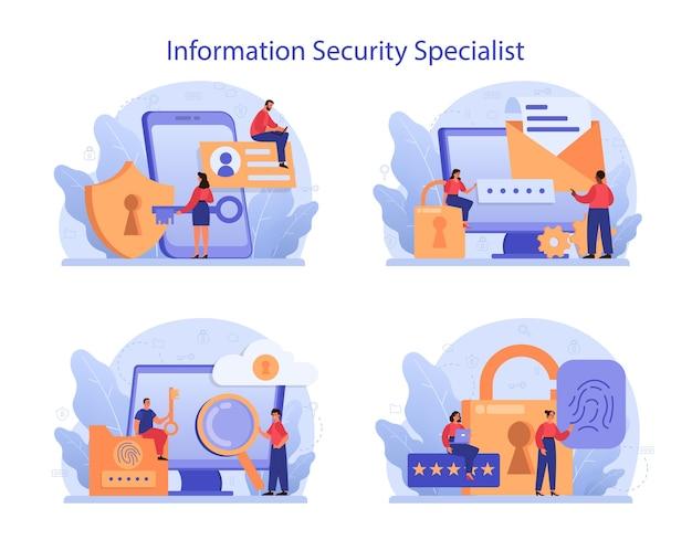Cyber- of webbeveiligingsspecialist ingesteld. idee van digitale gegevensbescherming en veiligheid. Premium Vector